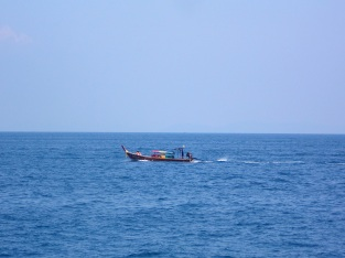 Longboat out at sea